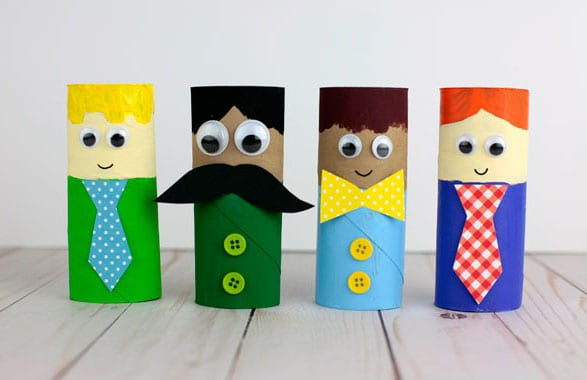 Paper roll figurines decorated like dad -- father's day crafts for kids