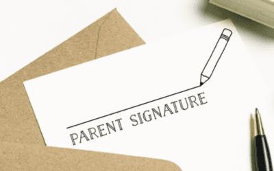 Parent signature teacher ink stamp