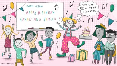 """Illustration of teacher dressed as a clown at a class birthday party with parents looking on and thought bubble text """"This was not in my job description"""""""