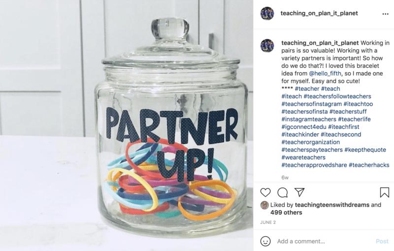 Partner colored bracelets in a jar