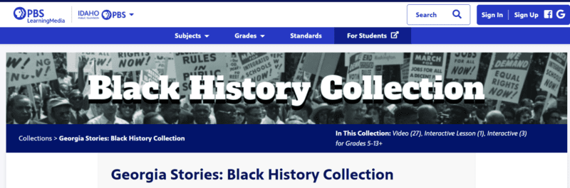African American History in Georgia collection for middle and high school students