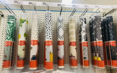 Peel and stick wall paper selection at Target