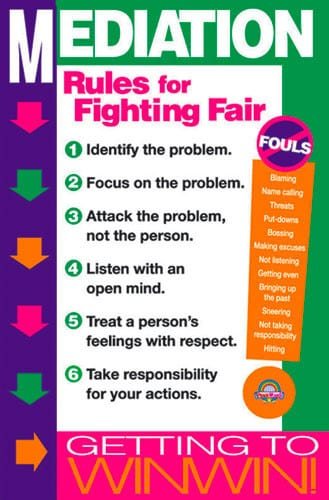 classroom poster with rules for fighting fair