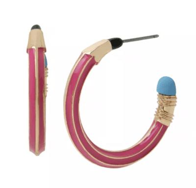 Pink pencil hoop earrings for teachers