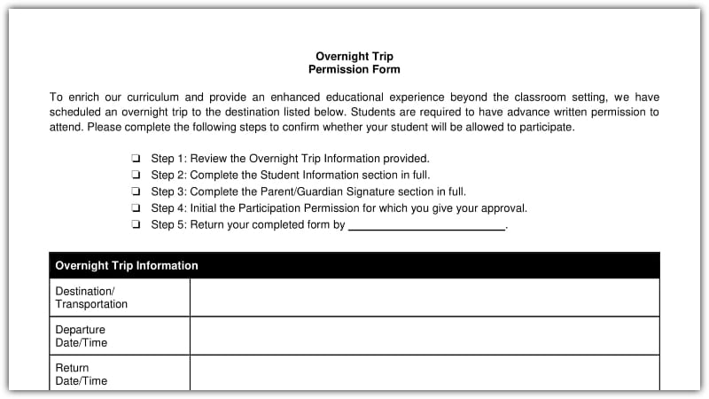 Permission Form Template | Free Field Trip And School Permission Forms Templates Weareteachers
