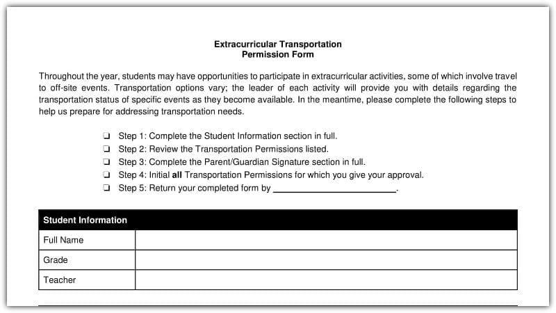 Free Field Trip And School Permission Forms Templates WeAreTeachers