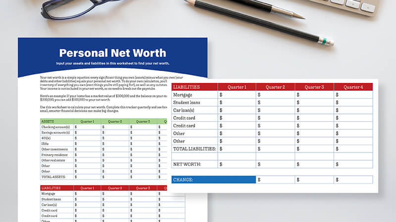 close up of net worth worksheet on a white desk with a pair of eyeglasses and two pencils