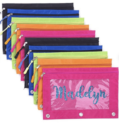 Personalized 3 ring cute pencil pouch with name
