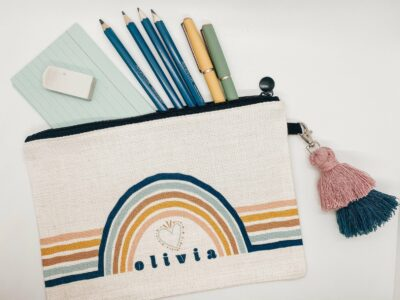 cute pencil pouch with personalized name rainbow pencil case