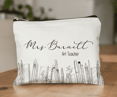 Cute teacher pencil pouch with Personalized name and grade with pictures of school supplies