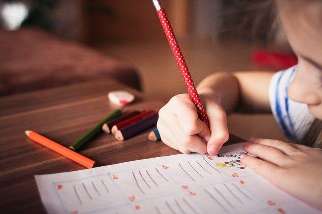 Child doing a homework assignment.