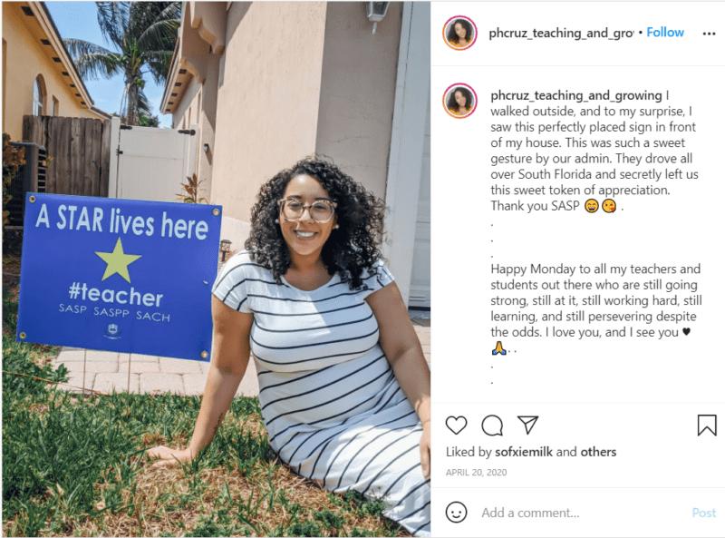 Still of Instagram post sharing virtual teacher appreciation yard sign