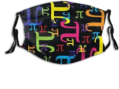 Black face mask decorated with multicolored small and large pi symbols