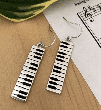 Silver and black piano dangle earrings