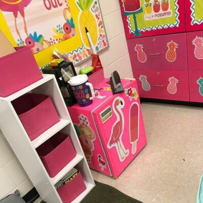 Pink classroom fridge covered in contact paper