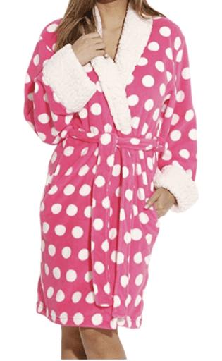 Pink Polka Dot robe for women