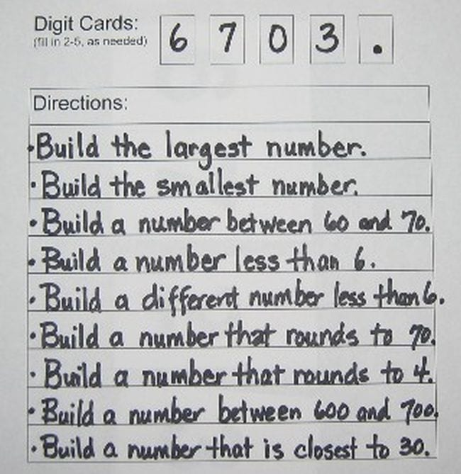 Worksheet with the digits 3703 at the top, and instructions to build the largest number, build the smallest number, etc. (Place Value Activities)