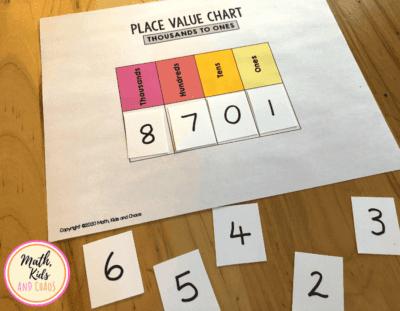 Place value understanding number headings flip chart