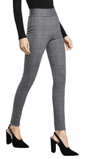 Grey plaid stretchy dress pants
