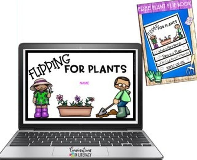 Digital plant life cycle flipbook screenshot with printed version of book too