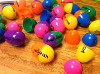 Plastic eggs with words written on them to build compound words