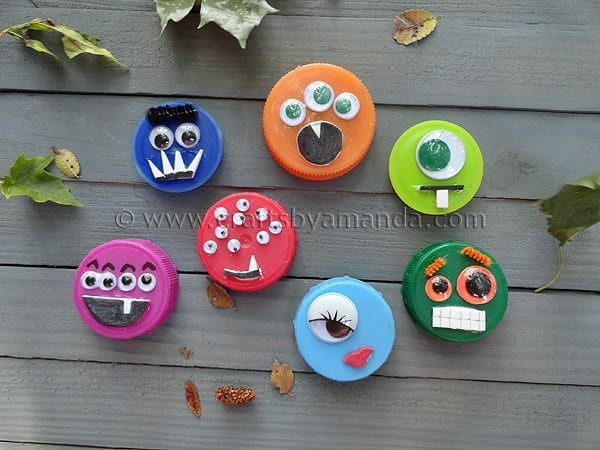 recycled bottle top monsters craft