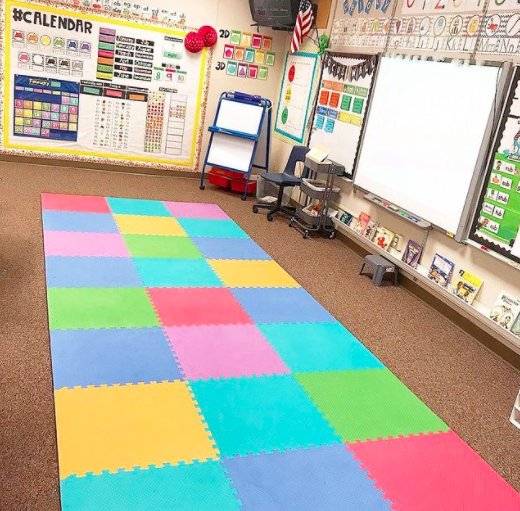 Playmat used as a rug in a kindergarten classroom