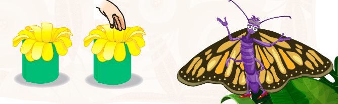 illustration of butterfly and hand reaching into the center of paper flowers; pollination insect activities