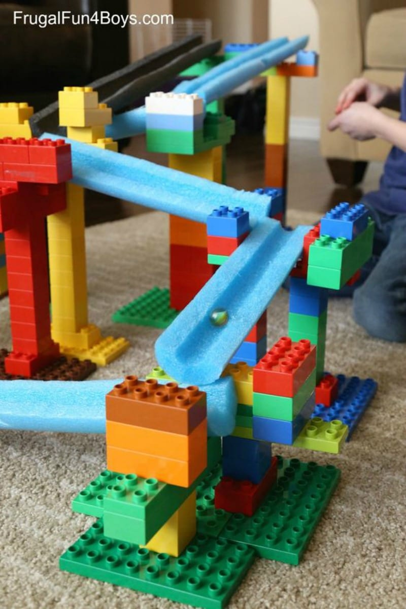 A marble slide using legos and cut pool noodles.