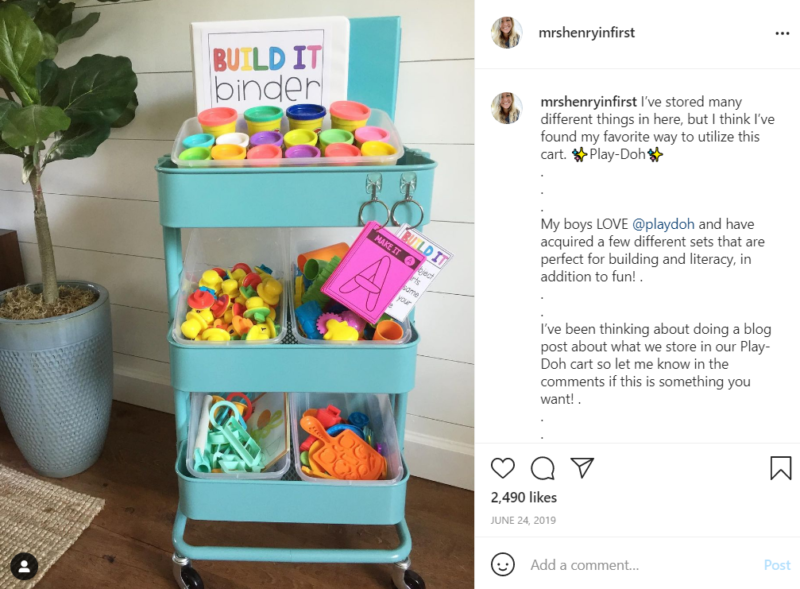Teal teacher cart full of play-doh toys and accessories