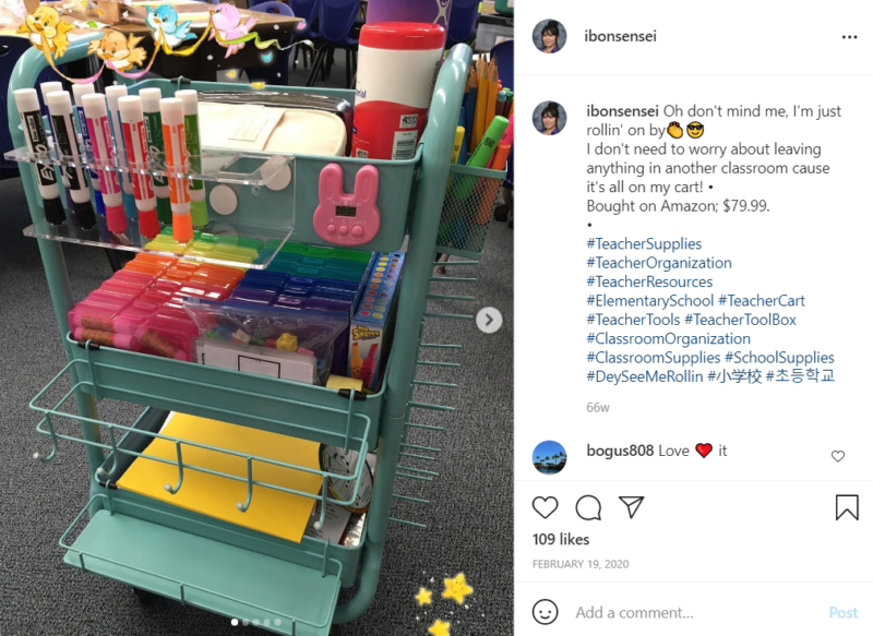 Multi level, mint green teacher cart full of school supplies and accessorized with a bunny in a classroom