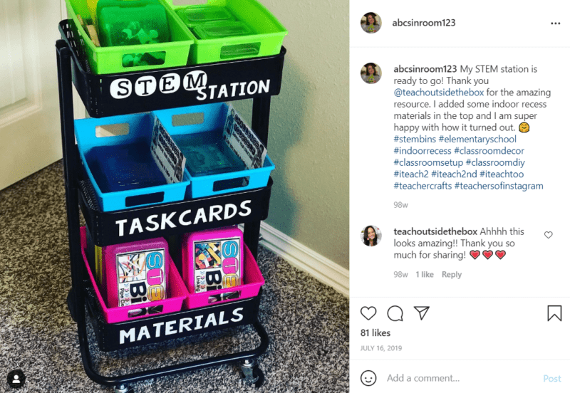 Black teacher cart labeled stem station features experiment cards and materials