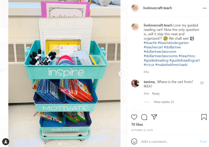 A teal teacher cart sits beside a furnace in a classroom, full of school supplies and books with the words inspire, motivate, and educate