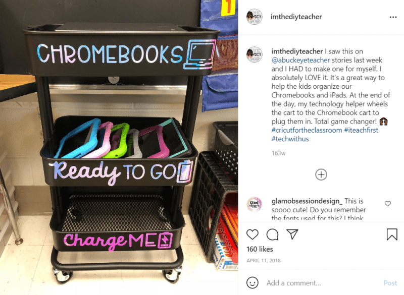 Black teacher cart set up to store chromebooks with a section for ones that are charged and ones that need to be charged located in a classroom