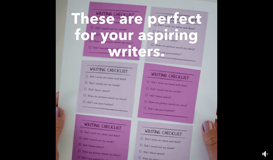 Purple and pink post-its with a note: These are perfect for your aspiring writers.