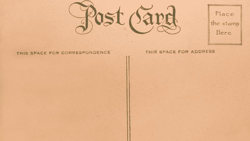 Back of a blank postcard