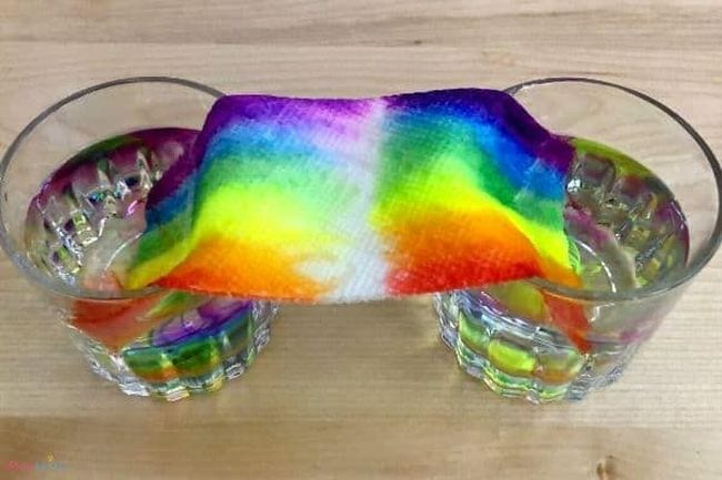 Paper towel strip draped between two glasses of water, with colorful marker rainbow ink moving from each side to meet in the middle (Preschool Science)