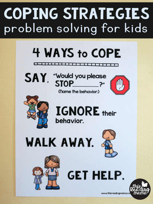 Poster showing 4 problem solving strategies for kids- say stop, ignore, walk away, get help