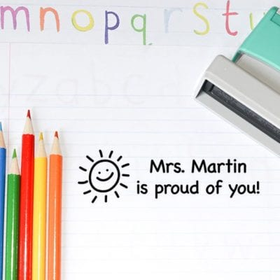 Teacher is proud of you ink stamp