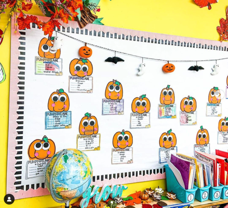 Adorable pumpkins on a Halloween board