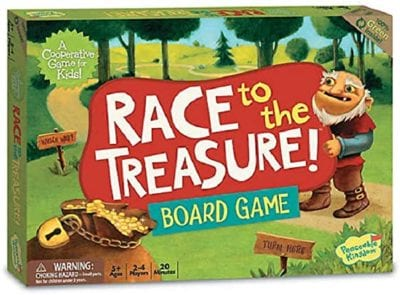 Box for the Race to the Treasure game showing an ogre peeking at a bag of gold