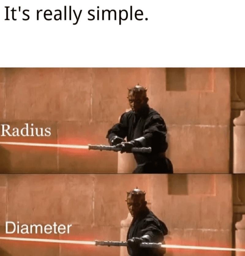 Radius pictured as half a lightsaber, diameter pictured as a whole lightsaber
