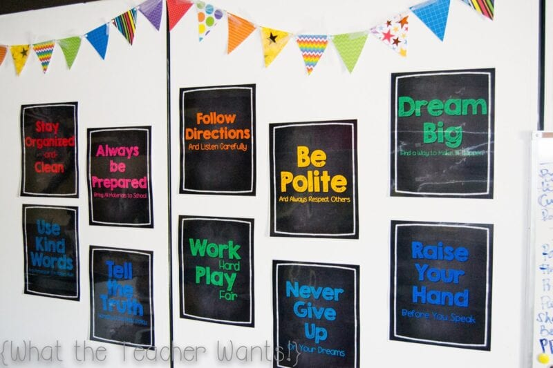 Reminders and rules for a rainbow theme classroom