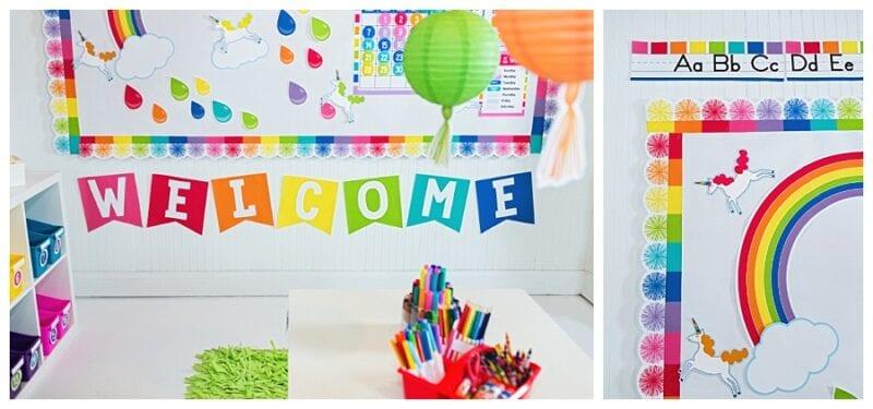 Hello sunshine rainbow bulletin boards idea with balloons