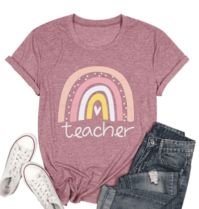 Pink rainbow teacher t-shirt