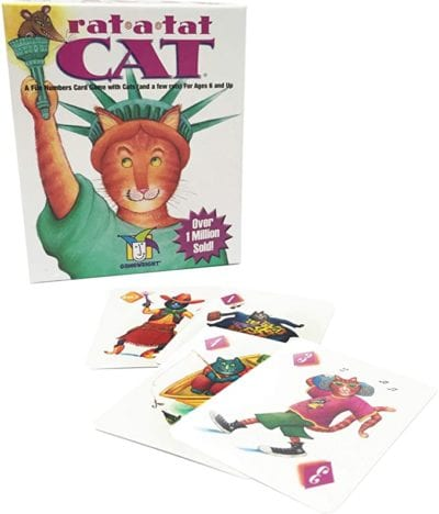 Box and sample animal number cards from the Rat-a-Tat-Cat game