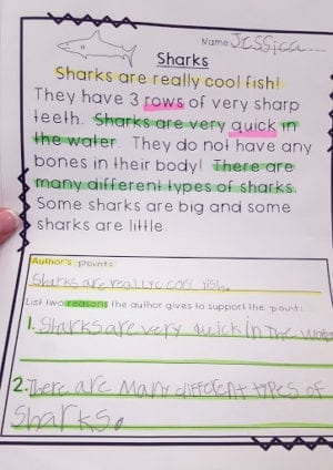 A reading highlighted with different colors to show understanding