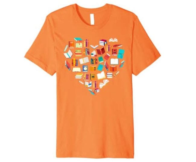 Orange t-shirt with heart made of book illustrations (Reading Shirts)