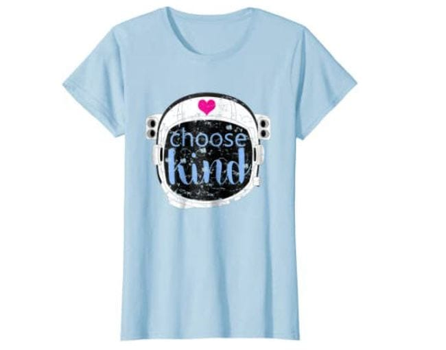 Light blue shirt with astronaut helmet and phrase Choose Kind (Reading Shirts)