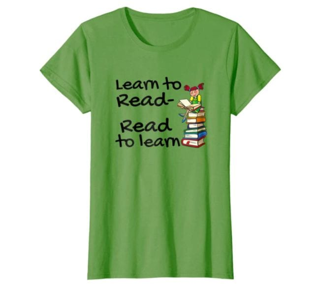 Lime green t-shirt with child sitting on stack of books, text reads Learn to Read, Read to Learn (Reading Shirts)